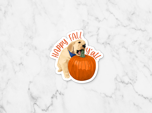 Happy Fall Y'all Puppy Sticker