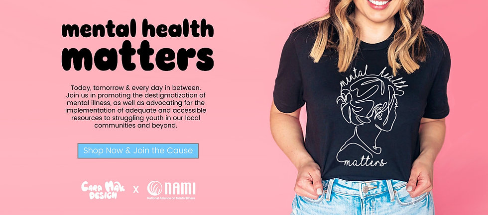 """white woman with dark blonde hair wearing a black tshirt that reads """"mental health matters"""". She holds the bottom with both of her hands and smiles."""