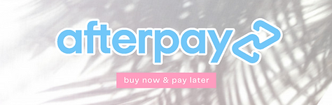 """""""Afterpay"""" listed against a white background with palm tree shadow. Link to afterpay policies."""