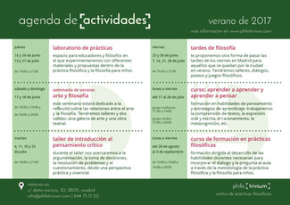 Agenda de actividades verano 2017