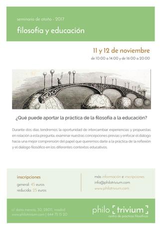 seminario de otoño:  filosofía y educación