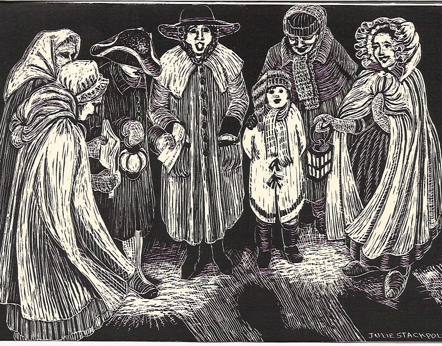 Carolers, 18th cent. Christmas card