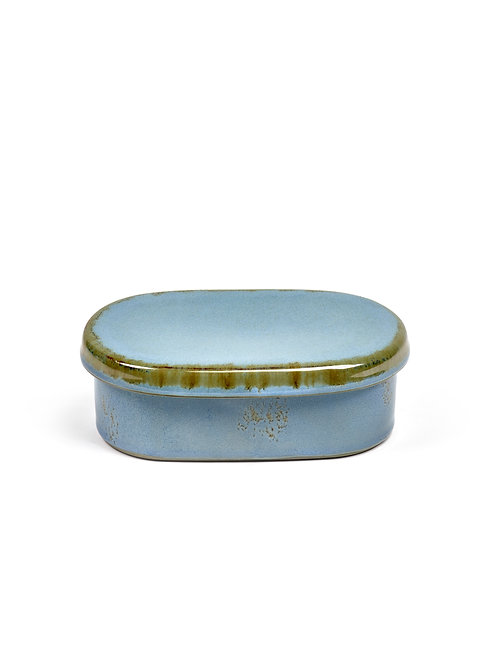 BUTTERDOSE OVAL SMOKEY BLUE 14,5X8,5