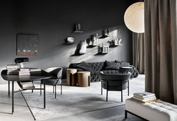 Samt Sofa und Schreibtisch