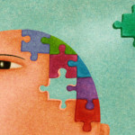 A man with a puzzle on his head and a missing piece