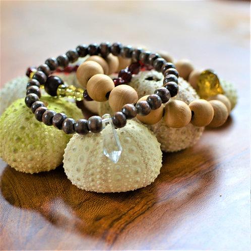 Santa Barbara Crystal + Wood Bracelet