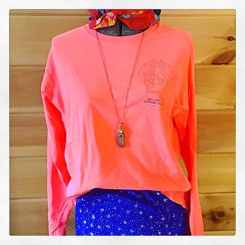 Fortune Teller Day Glow Pink Long Sleeve Tie Dye Vintage Shirt Top