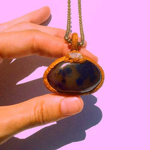 Enki Geode Quartz Leopard Print Purple Agate Amulet Pendant Necklace Charm