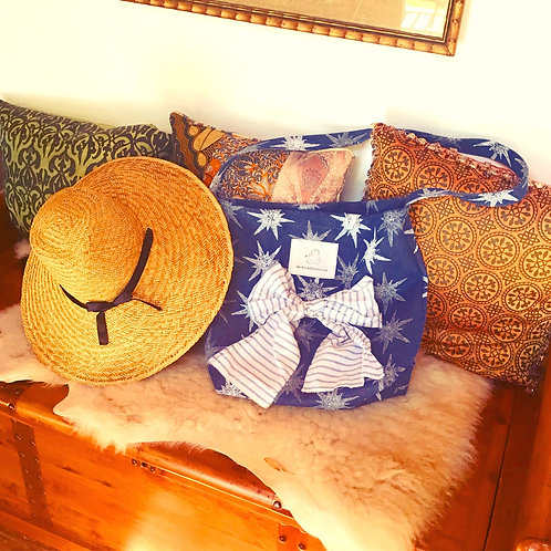 North Star Blue + White Printed Cotton Denim Hobo Bag With Bow