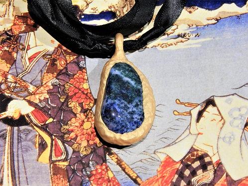 Indigo Blue Granite Stone + Gold Clay Sculpted Pendant Necklace