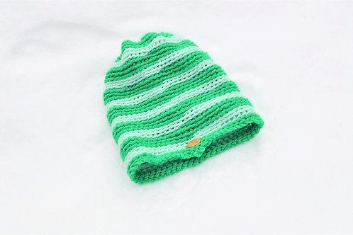 Misty Mint Green Striped Knit Beanie Hat