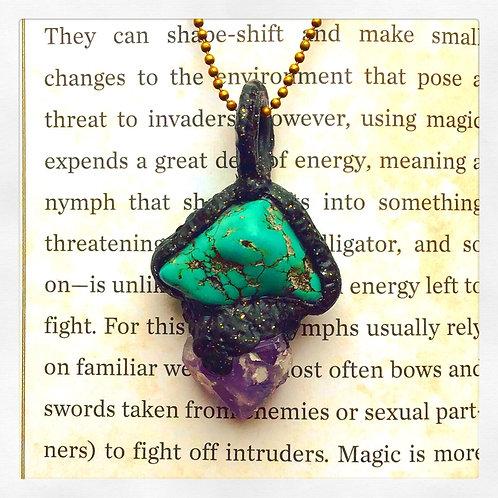 Hecate Howlite + Amethyst Talisman Amulet Pendant
