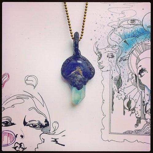 Blue Lapis Lazuli + Blue Angle Quartz Sparkling Black Clay Pendant Amulet Charm