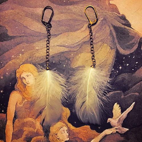 Branwen White Feather + Chain Drop Earrings