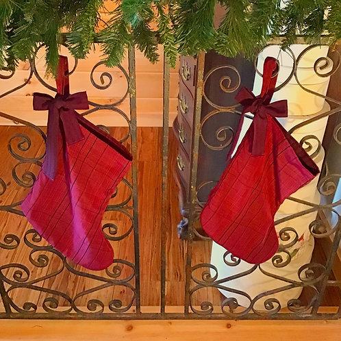 Merry Maroon Plaid Christmas Stocking Holiday Decor