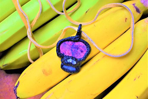 Pink Jasper, Labradorite, + Quartz Crystal Black Glitter Pendant Charm Tal