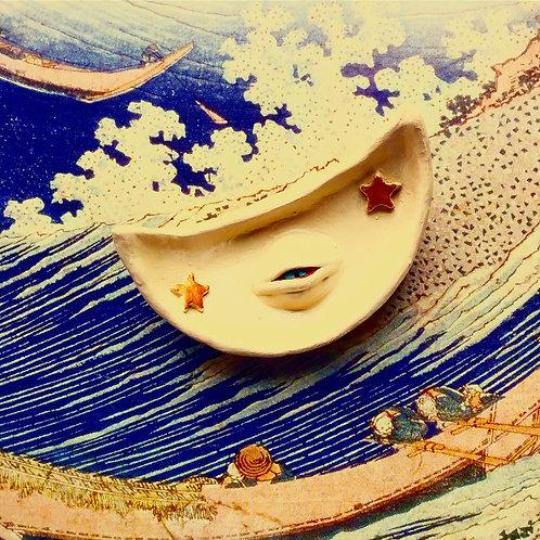 Cream Diana Celestial Cresent Moon Terra Cotta Trinket Tray Jewelry Dish
