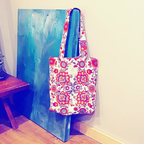 Readfield Red Floral Paisley Woven Cotton Tote Market Bag