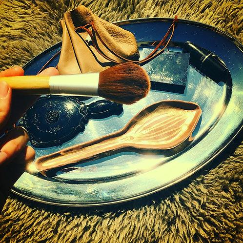 Tantairie Terra Cotta Gold Broomstick Make-Up Glam Brush Holder Home Decor