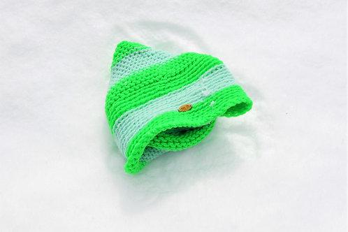 Mint + Neon Lime Rainbow Striped Knit Turban Hat