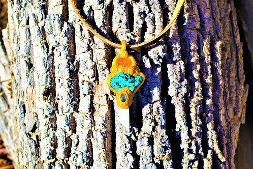 Ceridwen Carnelian, Teal Howlite, Labradorite + Marble Golden Clay Amulet
