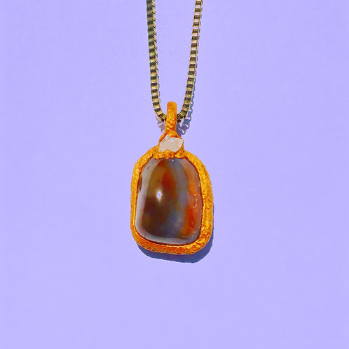 Alma Lavender/ Orange Agate Geode Quartz Pendant Amulet Necklace Charm