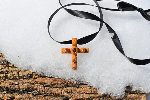 Margaret Ruby + Opaque Pink Glass Gold Clay Cross Pendant Necklace Charm