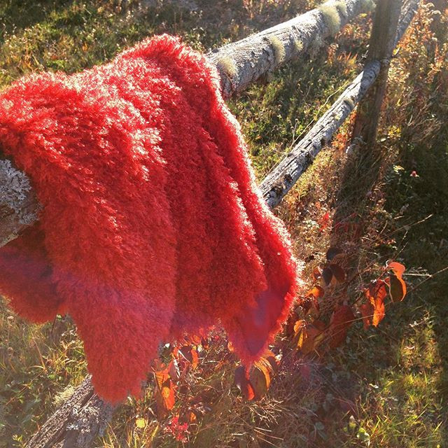 Mallory Sophronia's Farmington Full Length Faux Fur Vest in candy apple red