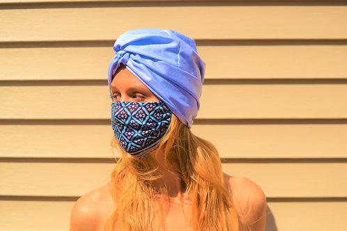 Bijou Blue Cotton Twisted + Gathered Turban Hat