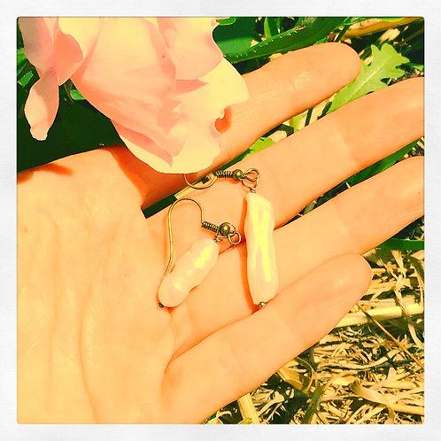 Imelda Ivory Pearl Drop Bronze Earrings