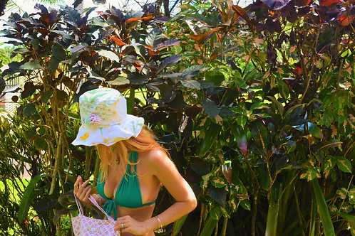MS White Floral Printed + 3D Blossom Cotton Medium Brimmed Sun Hat