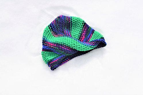 Gertrude Green Rainbow Striped Knit Turban Hat