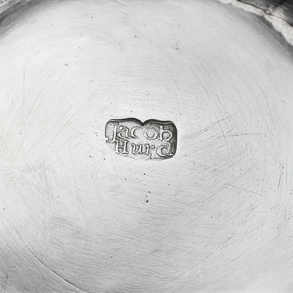 Jacob Hurd's brand signiture on his Two Handled Cup and Cover circa 1735..