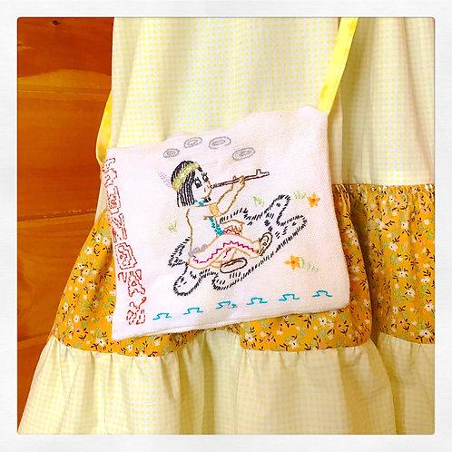 Peace Pipe Power Versatile Vintage Embroidered + Printed Mini Bag