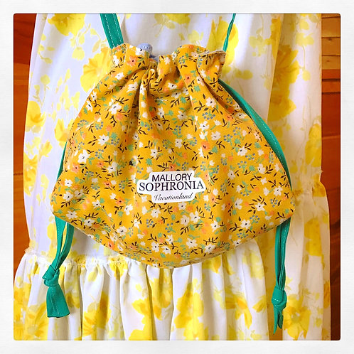 Yellow Floral Reversible Drawstring Crossbody Pouch Bag Purse