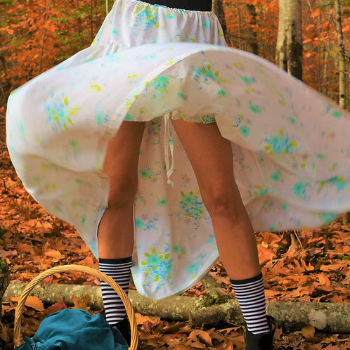 Olwen White + Blue Floral Empire Waist Midi Halter Dress/Drawstring Maxi Skirt