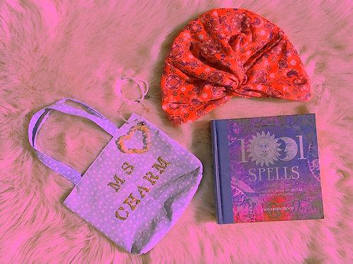 Celestial Charm Golden Glitter Periwinkle Stars + Floral Print Mini Tote Bag
