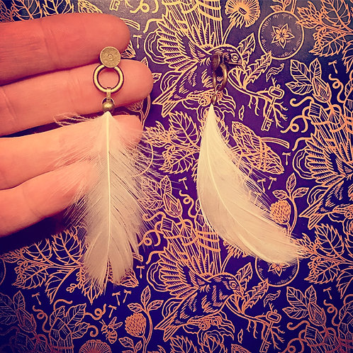 White Winged Dove Feather Drop Circle Stud Earrings