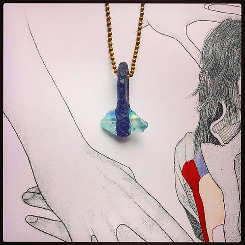 Horizontal Aqua Blue Angel Quartz Mini Pendant Charm Talisman Amulet