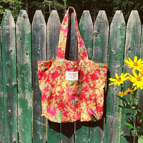 Roxbury Red Rose Floral Print Cotton Tote Bag