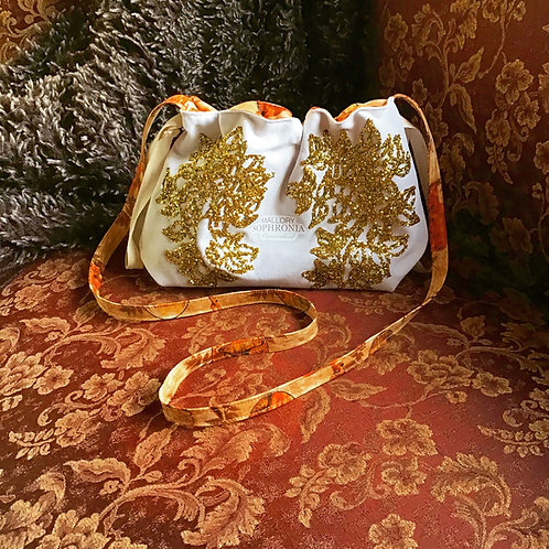 Glittering Gold Khaki Reversible Drawstring Crossbody Pouch Bag Purse