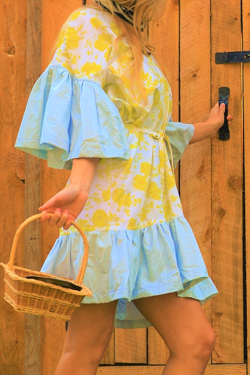 Cordelia White + Yellow Floral + Baby Blue Blouson Tunic Shift Dress