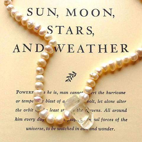 MS Quartz Crystal Fresh Water Pearl Choker Necklace Maine Designer Jewelry