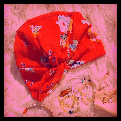 Romy Red, Blue, White, Yellow + Pink Floral Printed Twisted Turban Hat