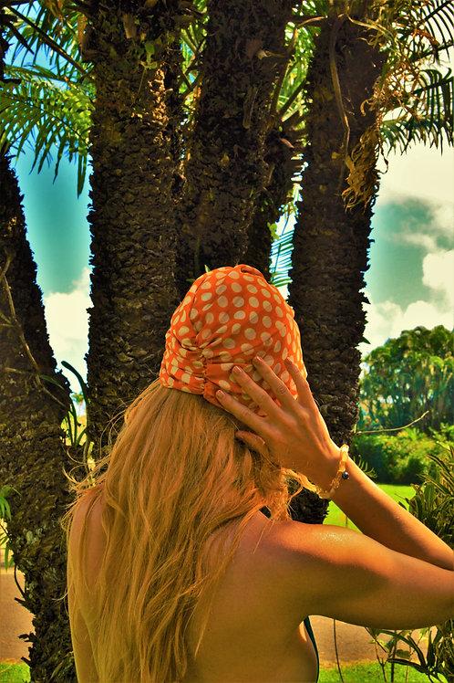 Orange + White Polka Dot Silky Twisted + Gathered Turban Hat