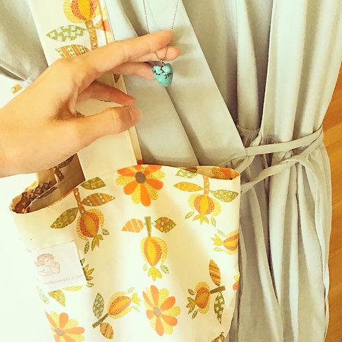 Yvette Vintage Cotton Scandinavian Floral Print Tote Bag Carry-All Purse