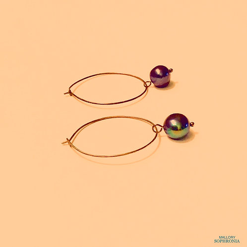 Black Fresh Water Pearl Drop Hoop Antique Gold Tone Earrings