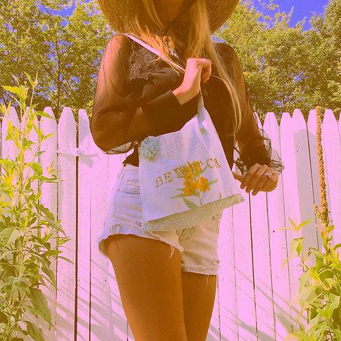 Bewitch Golden Glitter 3-D Flower Satchel Shoulder Bag Purse