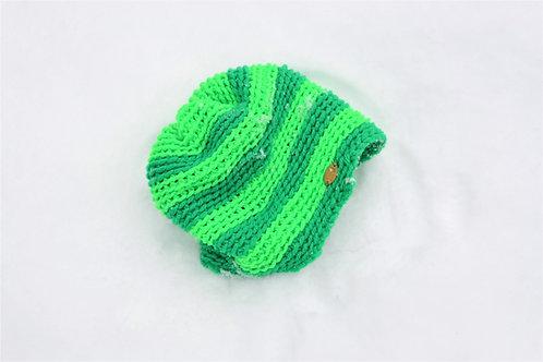 Kalina Kelly + Neon Green Striped Knit Beanie Hat
