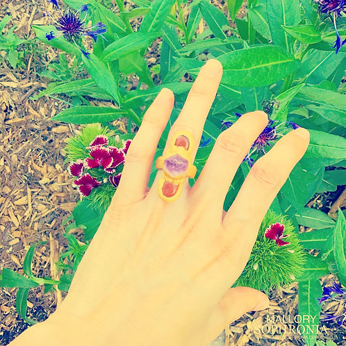 Raw Amethyst + Polished Goldstone Sculpted Golden Ring